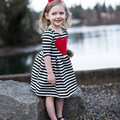 2017 Новый Малышей Девушки Платья Полосатый Девочка Платье Хлопка Весна Осень Милые девушки платья партии Дети Одежда SYHB1722303