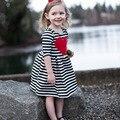2017 New Criança Meninas Veste Listrada Vestido Da Menina Do Bebê Algodão Primavera Outono Bonito da festa de meninas vestidos Kids Clothing SYHB1722303