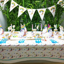 Unicorn Kid Birthday Cup Plate Banner Hat Straw Loot Bag Fork knives horn tablecloth Party Decoration Set Supplies