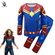 Avengerss Captain Marvel Costumes Kids Long Sleeve Halloween For Girls Endgame Party Dress Sets