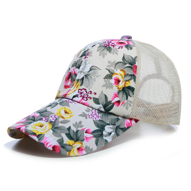 Sunscreen Rose Floral Print Baseball Cap For Women Men Sport Mesh Caps Breathable Casual Golf Hats Snapback Hat drop ship