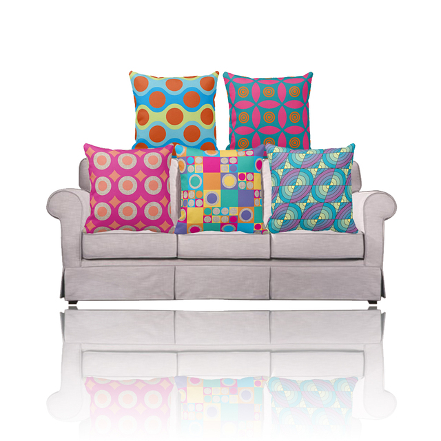 Modern Euro Home Decor Morocco Personalized 2 Side Print Geometric Cushion  Cover For Sofa,Yellow