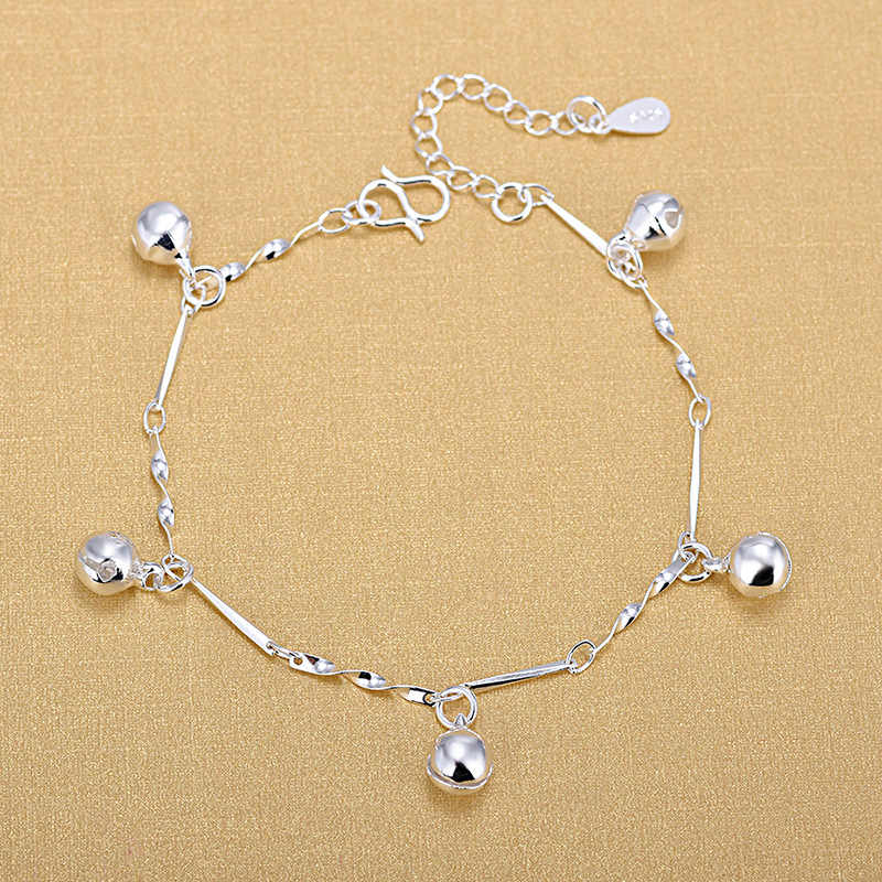 Free Shipping Top Quality Wholesale Silver Chain With Bell Charm Bracelets 925 Fashion Bracelets Fine Fashion Bracelet