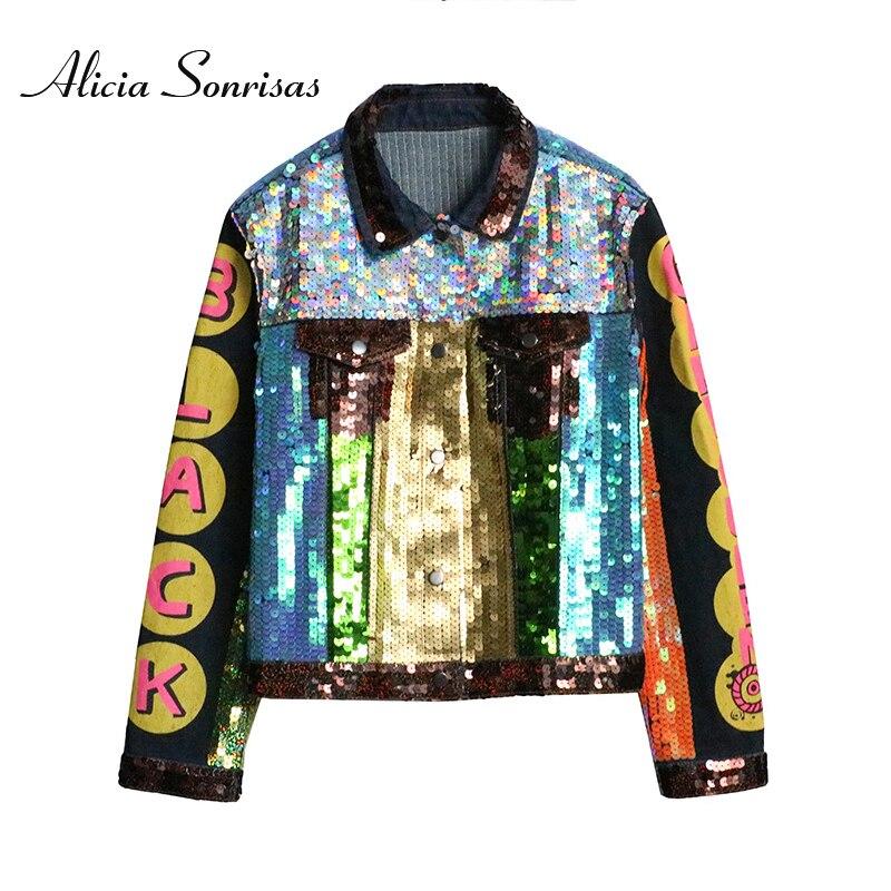 Women   Leather   Jacket 2019 Spring Street Sequins Cartoon Letter Print Denim Loose Graffiti Pattern PU   Leather   Jeans Jacket Y8572