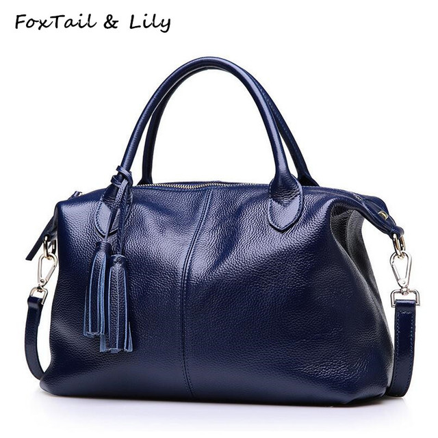 f8fc9bb7f405 FoxTail   Lily Tassel Design Genuine Leather Bag Women Real Soft Leather  Handbag Ladies Shoulder Crossbody Bags High Quality