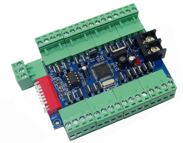 24CH DMX Dimmer Controller board ,24 channel DMX512 decoder dimmer with 3P connection 24A output for led tape ribbon led lamp 350ma constant current 12ch dmx dimmer 12 channel dmx 512 dimmer drive led dmx512 decoder rj45 xrl 3p