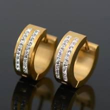 Crystal Rhinestone Stainless Steel Hoop Earrings Women Fashion Jewelry Gold Silver Zircon Huggie Ear Hoops