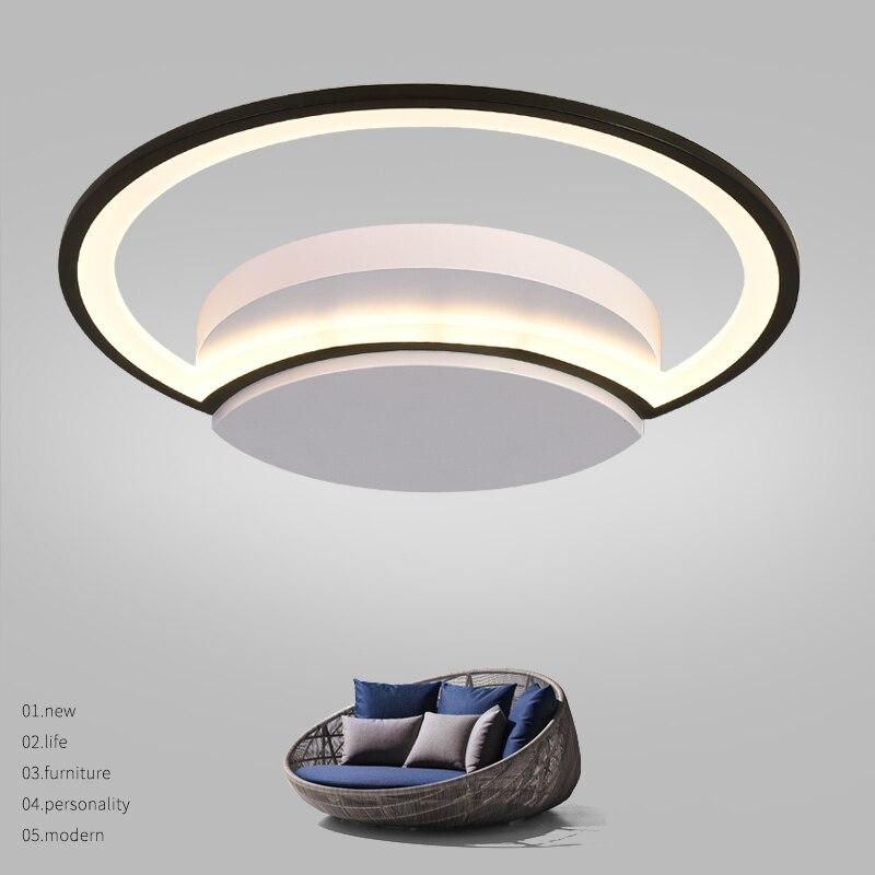 New Minimalism Circular designer Modern led ceiling lights led lamp for bedroom study room White or Black ceiling lamp fixtures