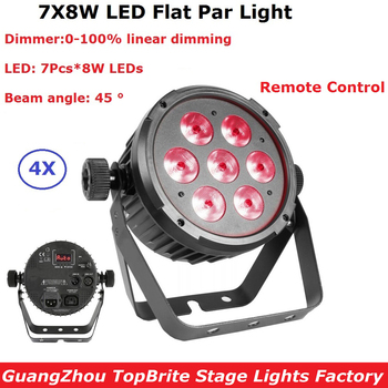 Fast Shipping 4Pcs/Lot Led Par Lights 7X8W RGBWA-UV 6IN1 LED Flat Par Led DMX512 Disco Lights Professional Stage Dj Equipments прожектор led par 64 involight led par189al