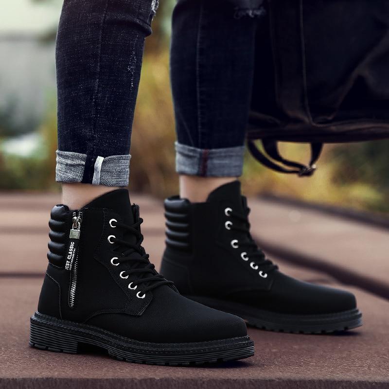 Cut Noir Mâle Bottes Chaussures Pour Confortable Designer Hommes Moyen De Travail La À Mode Jeunesse Black Caoutchouc Semelle En Martins Glissière X0pwzF