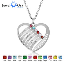 Personalised Birthstone Engrave Coronary heart Pendants Necklaces 925 Sterling Silver Necklaces & Pendants Mother's Present (JewelOra PE101340)
