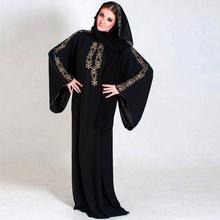 Long Sleeve Black Chiffon Gold Beading Hijab Muslim Evening Dress Dubai Kaftan Arabic Style Abaya Long Formal Gown