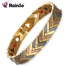 RainSo מגנטי צמידי צמיד לנשים 4 ב 1 בריאות ביו אנרגיה גרמניום ריפוי נשי תכשיטי עבור דלקת פרקים