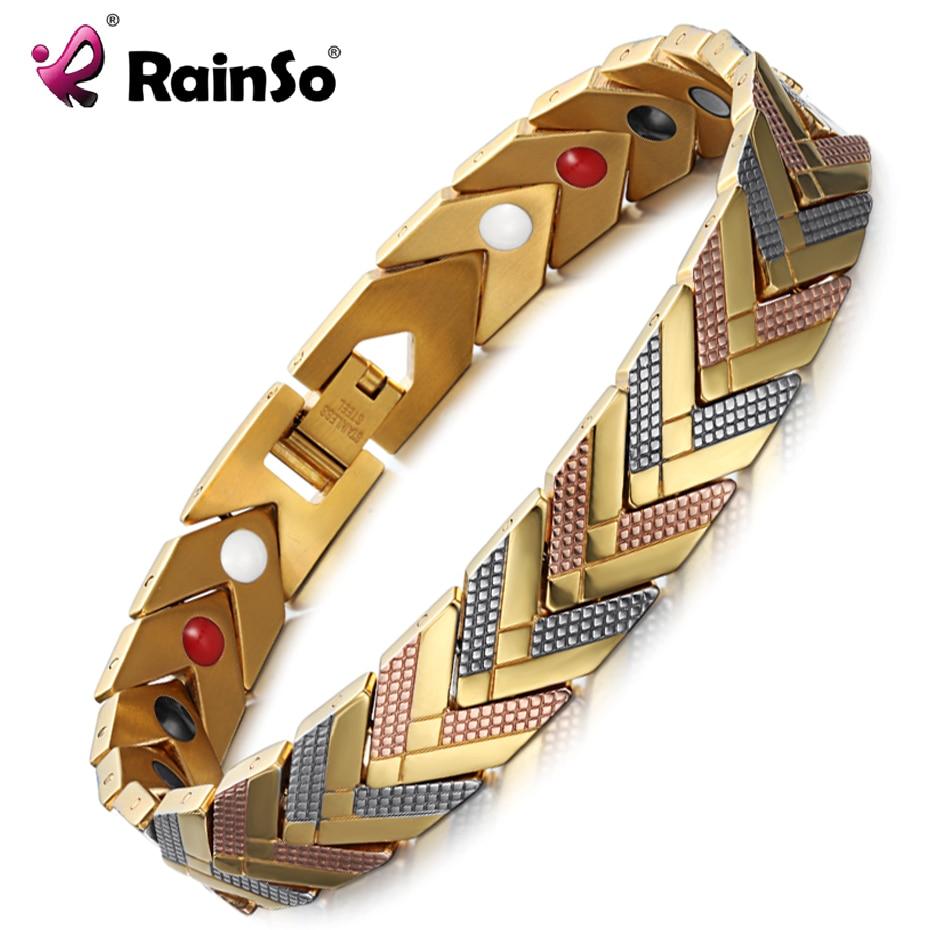 RainSo Magnetic Hologram Bracelets Bangle for Women 4 in 1 Health Care Bio Energy Germanium Healing Female Jewelry for Arthritis