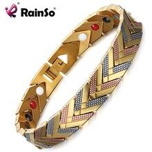 RainSo bransoletki magnetyczne bransoletka dla kobiet 4 w 1 opieka zdrowotna bioenergetyczna Germanium Healing damska biżuteria na zapalenie stawów