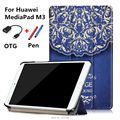 New Colored drawing MediaPad M3 Leather Case folio stand Cover For Huawei MediaPad M3 BTV-W09 BTV-DL09 8.4'' Tablet PC+OTG+Pen