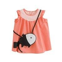 Summer 2-7T Children Babies Girls Mini Dress Solid Color Sleeveless Crew  Neck Cute Cat Printed Pattern Dresses