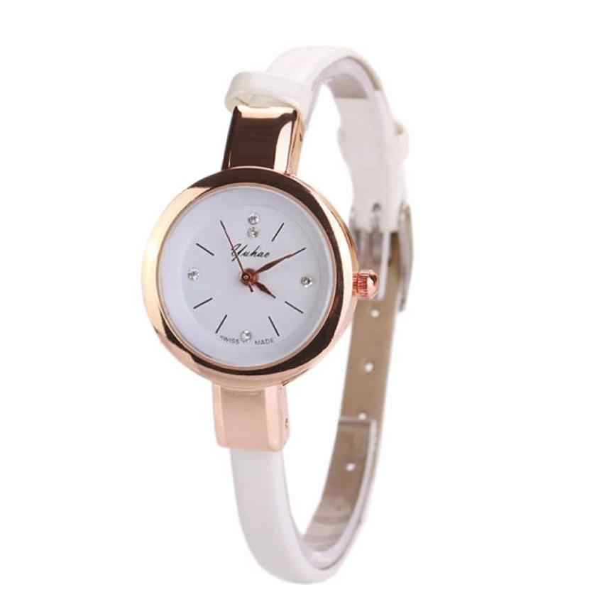 Les femmes regardent les montres-bracelets de luxe dames montres à Quartz en cuir d'unité centrale horloge Relogio Feminino bayan kol saati Bracelet Montre