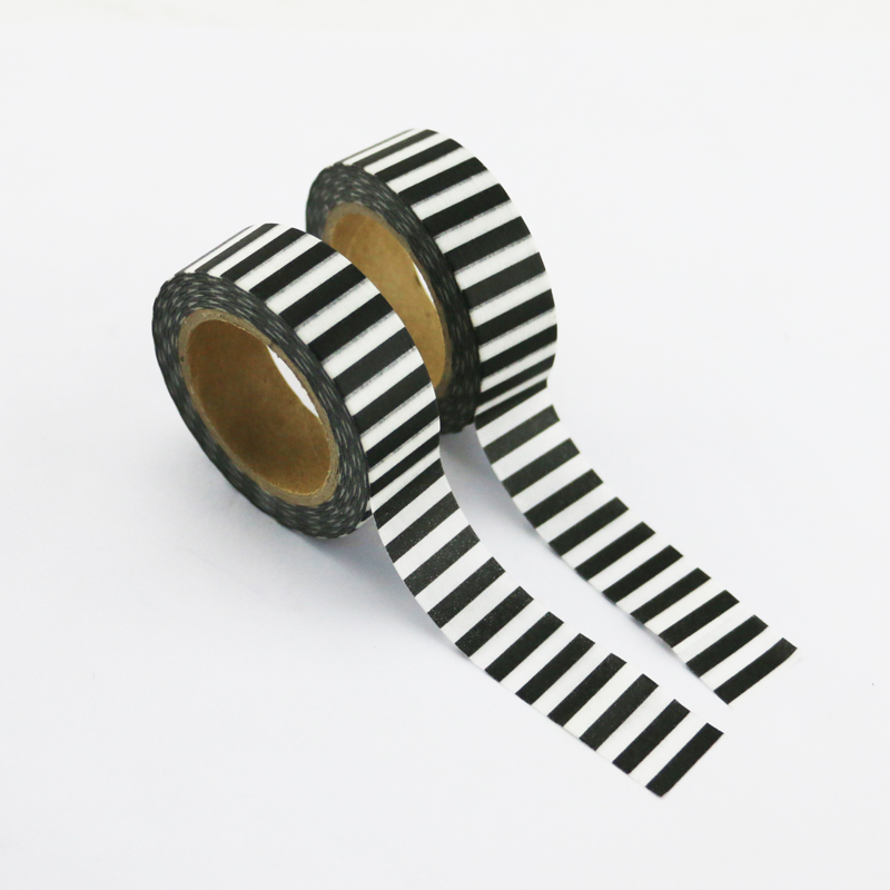 10pcs/lot Black Stripes Print Washi Tape Paper DIY Decoration Scrapbooking Tools Masking Tape Adhesive Tapes Stickers Stationery