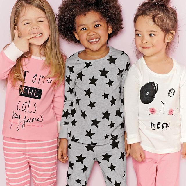 Nueva ropa de los niños fija niñas ropa de noche de manga larga de ocio desgaste pijamas de los cabritos next girl ropa de estilo para 2-7 años