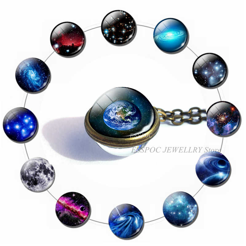 Galaxy Full Moon Glass Ball Cabochon Necklace Earth Planet Stars Nebula Outer Space Jewelry Double Side Glass Pendant Women Gift