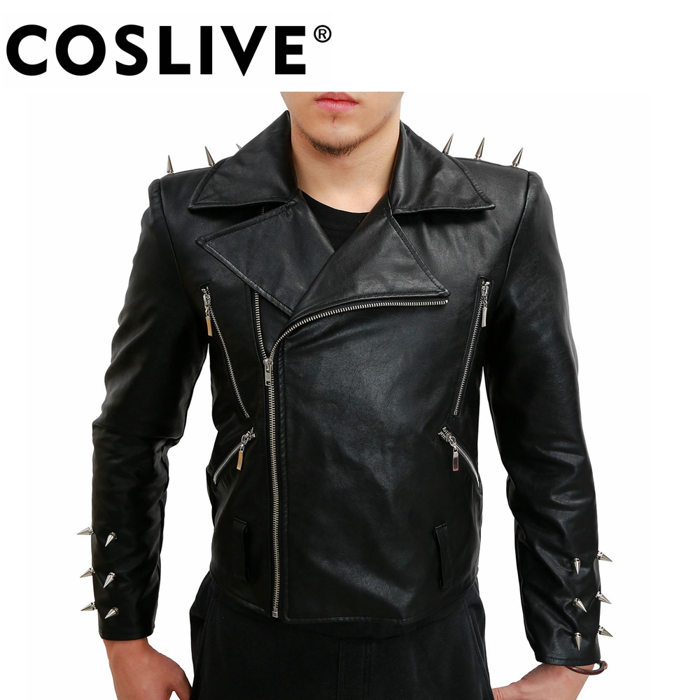 Coslive Ghost Rider Jacket Nicolas Cage Cosplay Black PU Leather Men's Biker Costume Jacket For Men Adult