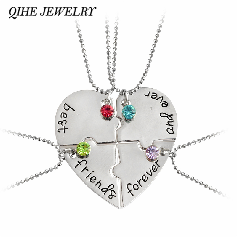 "QIHE JEWELRY 4pcs/set ""best friend forever and ever"" BFF Friend Necklace Set 4 Pieces Heart Shape Puzzle  Friendship"