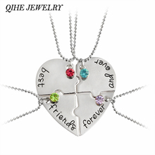 "QIHE JEWELRY 4pcs/set ""best friend forever and ever"" BFF Friend Necklace Set 4 Pieces Heart Shape Puzzle Friendship"