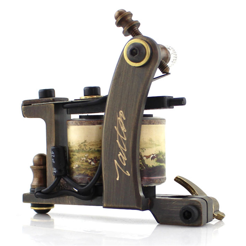Newest Professional 12 Wraps Copper Liner&Shader Tattoo Machine Free Shipping professional 1 bottle tattoo ink for lining and shading newest tribal liner shader pigment black newest 249ml drop shipping