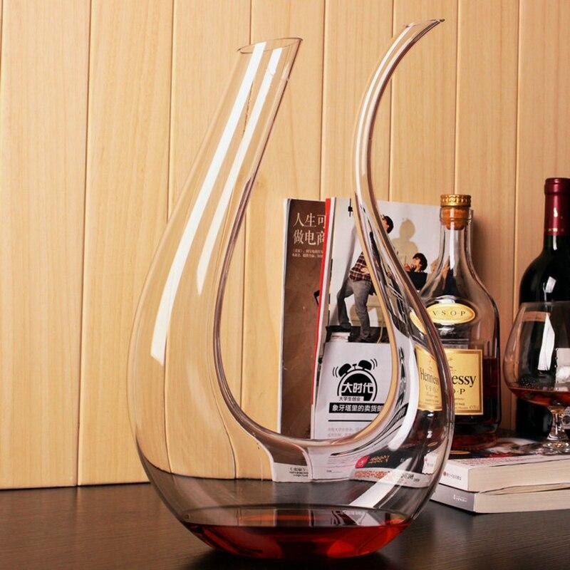 1 Шт. Велика ємність U-подібного Скло Графін Великий Кришталевий Вино Декантер Комплект Безоловий Червоний Вино Графин 1500мл.