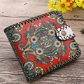 Vintage Printing Floral Animal Prints Women Short Wallet Sewing Thread National Wind Coin Purse Ladies Card Holder Wallets