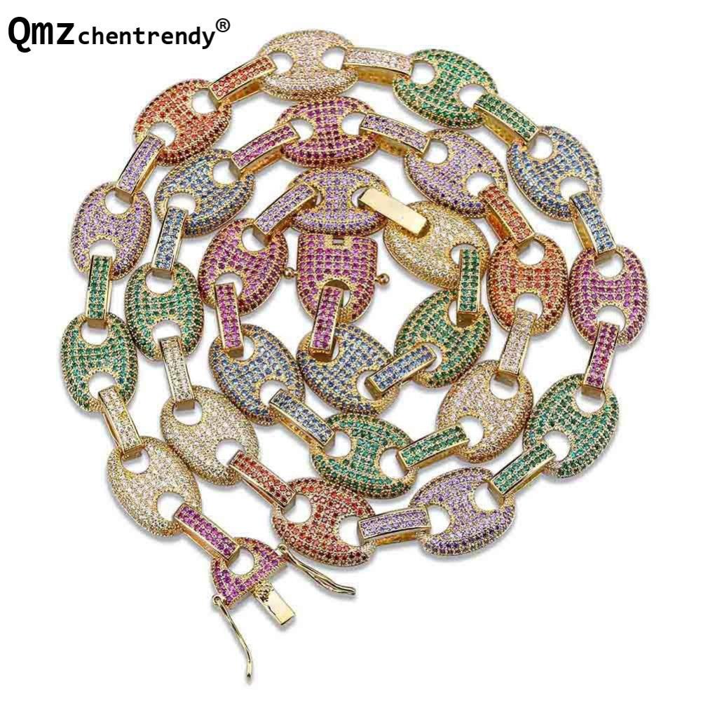 Hip hop hommes bijoux cuivre or/argent rempli collier Micro Pave CZ pierre 11mm ovale couleurs attache colliers 18 pouces 22 pouces