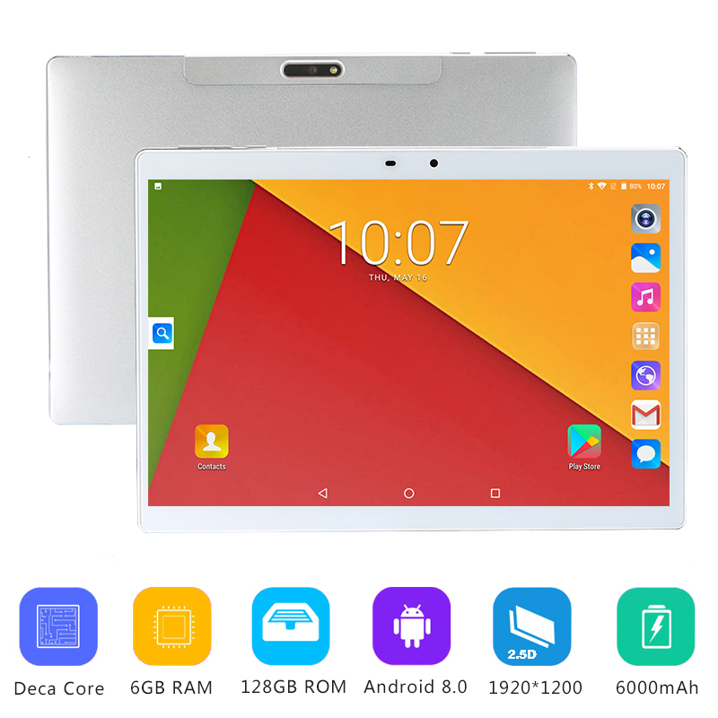 2019 New 10 inch Deca Core tablet Android 8.0 6GB RAM 128GB ROM 4G FDD LTE GPS Pad 10.1 IPS 1920*1200 2.5D Screen +Gifts