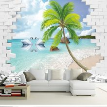 photo wallpaper custom 3D seaview mural wallpaper sitting room Hotel restaurant sofa backdrop stereo wallpaper(China)