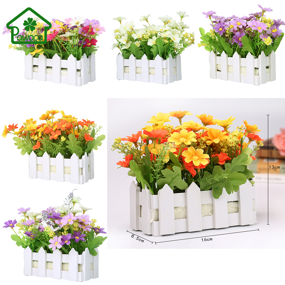 1 Set Home Decorative Artificial Silk Flowers with Picket Fence Fake Daisy Silk Flowers Potted Home Garden Wedding Party Decor