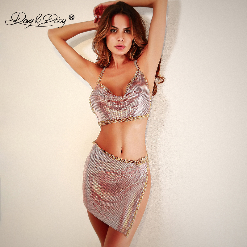 DAVYDAISY Women Sexy Set Metal Tassel Bling Crop Top Tanks Mini Skirts Sexy Lingerie Porn Underwear Sexy Costumes Apparel SE001