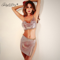 DAVYDAISY Women Sexy Set Metal Tassel Bling Crop Top Tanks Mini Skirts Sexy Lingerie Porn Underwear Sexy Costumes Apparel SE001