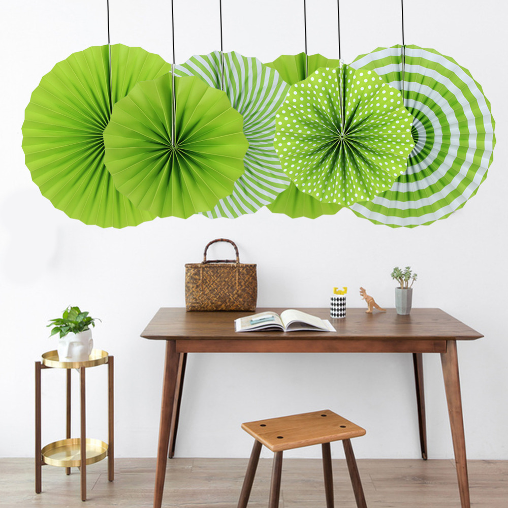 6pcs/set Green Paper Fans Rosettes Pinwheels Garla...