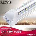 LEDVAS 2Pcs 18W V-Shaped T8 integrate Led tube 2ft Cooler Door Double Sides SMD2835 Led Fluorescent Lights 600mm 0.6m AC85-265V