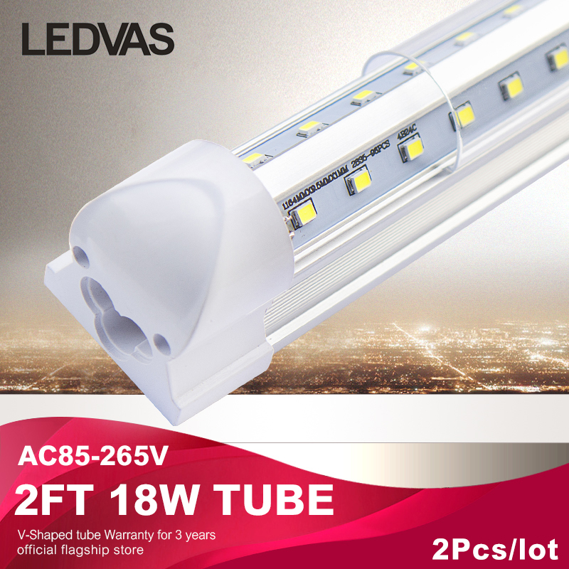 T8 Led Integrated V-Shaped tube/lamp/ light 18W 2ft 3000k 6500k Led Fluorescent Lights 0.6m AC85-265V Factory direct sale 2Pcs цена