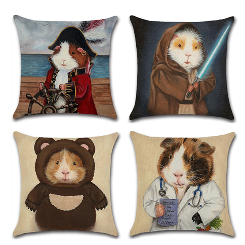 Cute Guinea Pigs Cushion Cover Printed Soft Linen Cartoon Throw Pillowcase living room Waist Seat Pillow Decorative funda cojin
