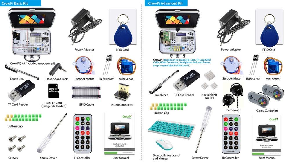 Optoelektronische Displays Elecrow Crowpi Alle-in-one-design 7 Zoll Hd Touchscreen Kompakte Raspberry Pi Pädagogisches Lernen Kit Diy Computer Starter Kits Elektronische Bauelemente Und Systeme