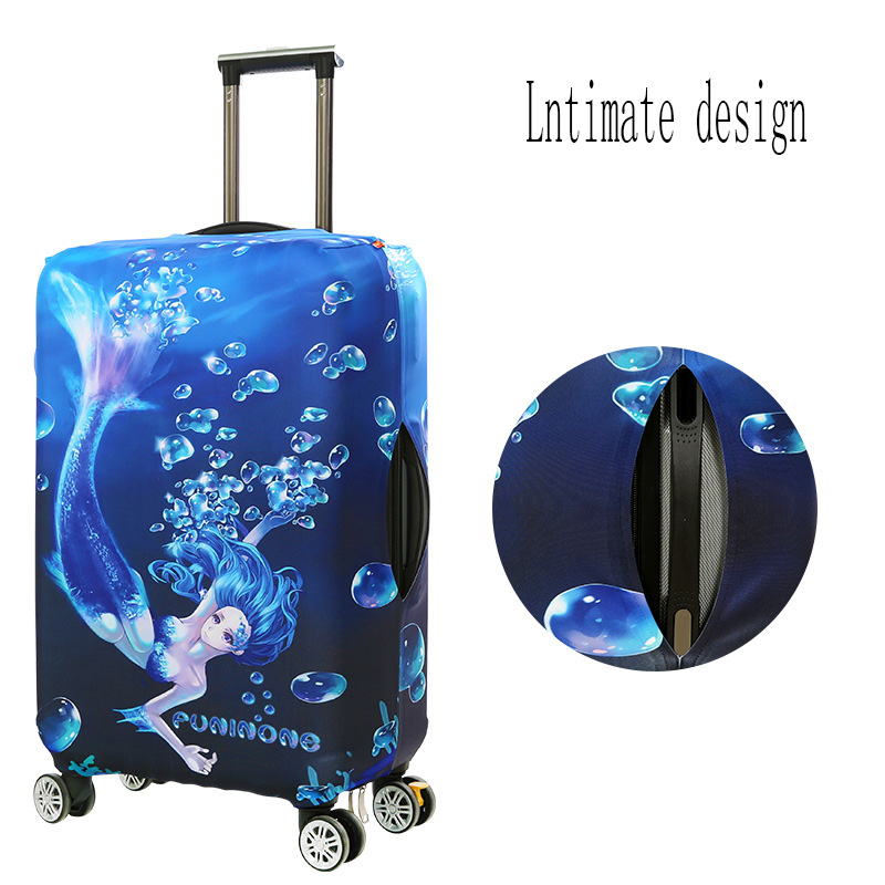 Cute 3D Blue And White Chevron Pattern Luggage Protector Travel Luggage Cover Trolley Case Protective Cover Fits 18-32 Inch