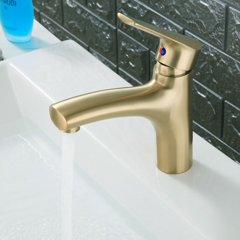 Solid Brass Brushed Gold Faucet Bathroom Basin Faucet Cold Hot Sink Mixer Tap Deck Mounted Water Faucet Matte Black CraneSolid Brass Brushed Gold Faucet Bathroom Basin Faucet Cold Hot Sink Mixer Tap Deck Mounted Water Faucet Matte Black Crane