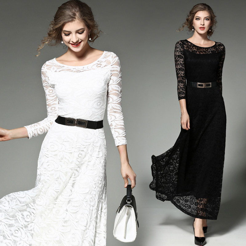 Pleine Formelle Swing Robe Évider Noir Big Couture Longue L'europe Ceintures De Féminine La 2018 blanc Mince Haute Nouvelle Fête Dentelle Printemps Sexy Femmes wxaSnZRq