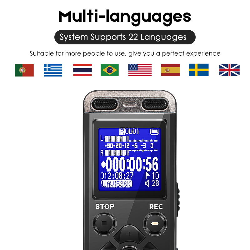 Prend en charge 22 langues affaires Portable enregistreur vocal numérique prise en charge USB multi-langue carte Tf à 32 GB 8 GB stylo enregistreur Audio