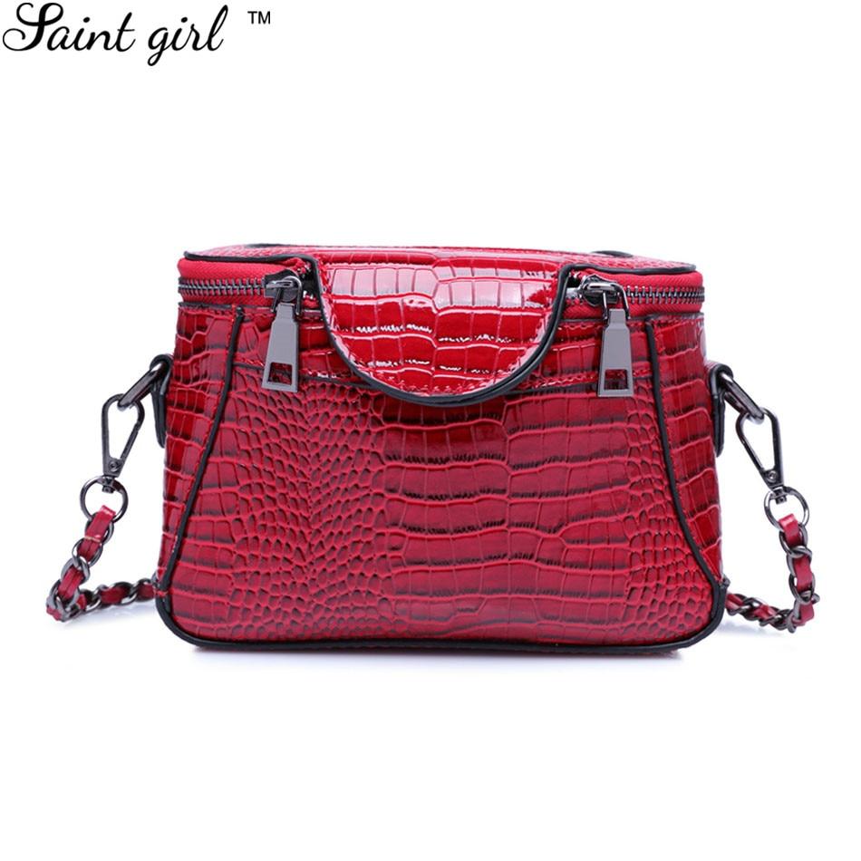 ФОТО Saint Girl Women Shoulder Bag High Quality Designer Serpentine Mini PU Leather Black Trunk Shape Cross-body Bags Female SNS150