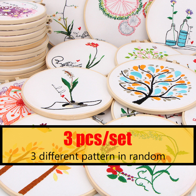 3 Pcs Diy Easy Embroidery Sale For Beginner Multiple Patterns