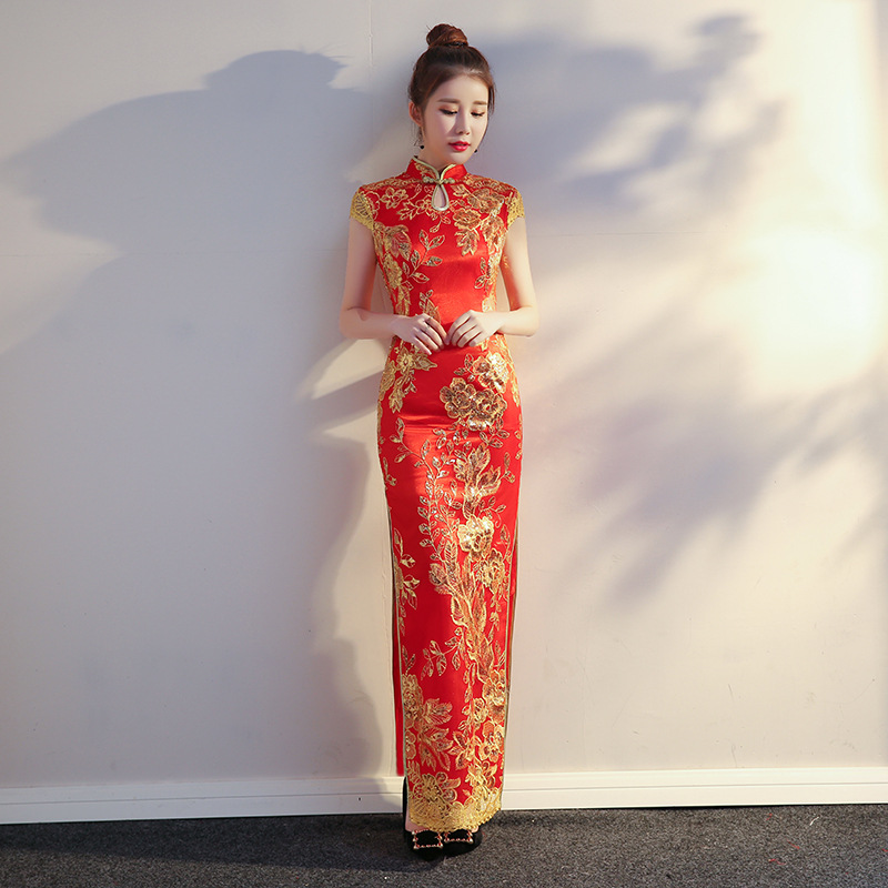 Summer New Asian Bride Wedding Evening Party Dress Female Red Sequins Slim Qipao Stage Performance Long