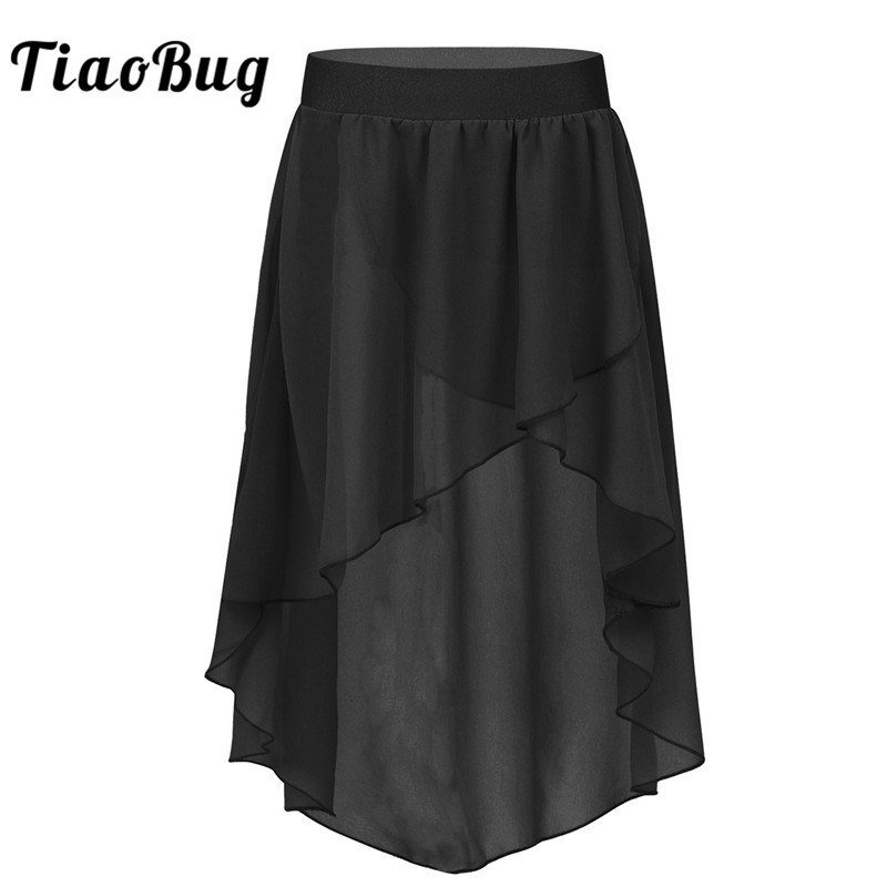 TiaoBug Kids Teens High-Low Elastic Waistband Chiffon Skirt Children Girls Ballet Tutu Latin Jazz Stage Lyrical Dance Costumes